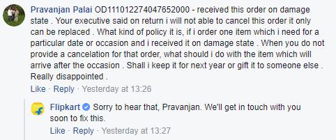 Flipkart Facebook Customer Care Response 1