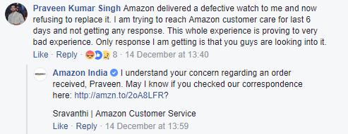 Amazon Facebook Customer Care response 1