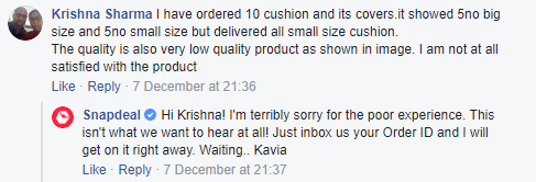 Snapdeal Facebook Customer Care response 1