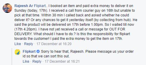 Flipkart Facebook Customer Care response 2